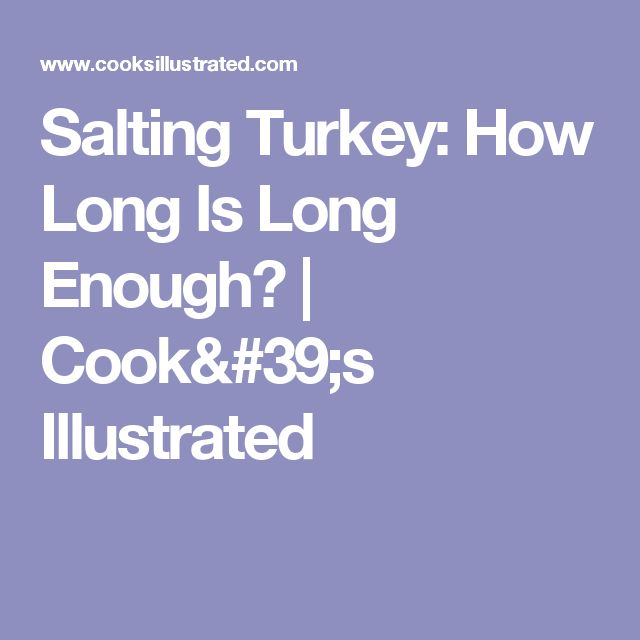Salting Turkey: How Long Is Long Enough? | Cook's Illustrated