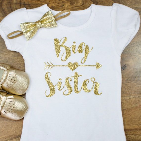 Big Sister Girl Shirt | Gold Big Sister with Gold Heart arrow shirt glitter gold | Sibling Pictures Big Sister Little Sister Matching by OliveLovesApple