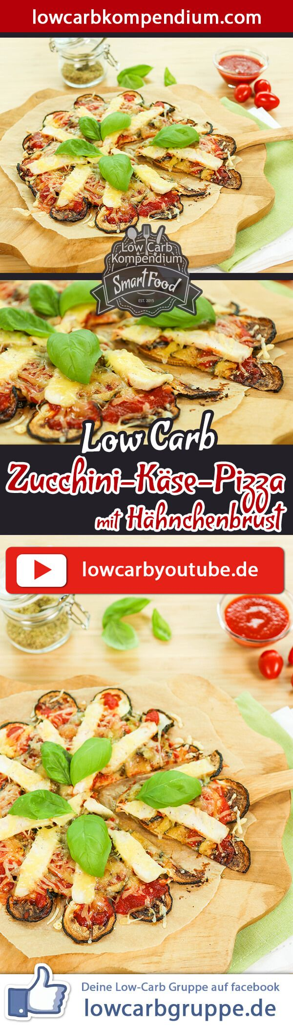 Low-Carb Zucchini-Käse-Pizza ist die wahrscheinlich einfachste Pizza der Welt. Wir sind immer auf der Suche nach leckeren Low-Carb Pizza Rezepten. Wenn diese Pizza-Rezepte auch noch schnell und einfach zuzubereiten sind - umso besser :)  Unsere Low-Carb Zucchini-Käse-Pizza ist supereinfach zu machen, braucht nur wenige Zutaten und kann bei Bedarf nach Wunsch abgewandelt werden, so wie Du es bei anderen Pizza-Rezepten gewohnt bist :)  Und nun wünschen wir dir viel Spaß beim Nachkochen, LG And