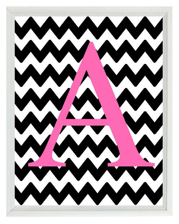 Chevron Monogram Initial Letter Art Print Girl Room Nursery Hot Pink Black Personalized Wall Art Home Decor Print