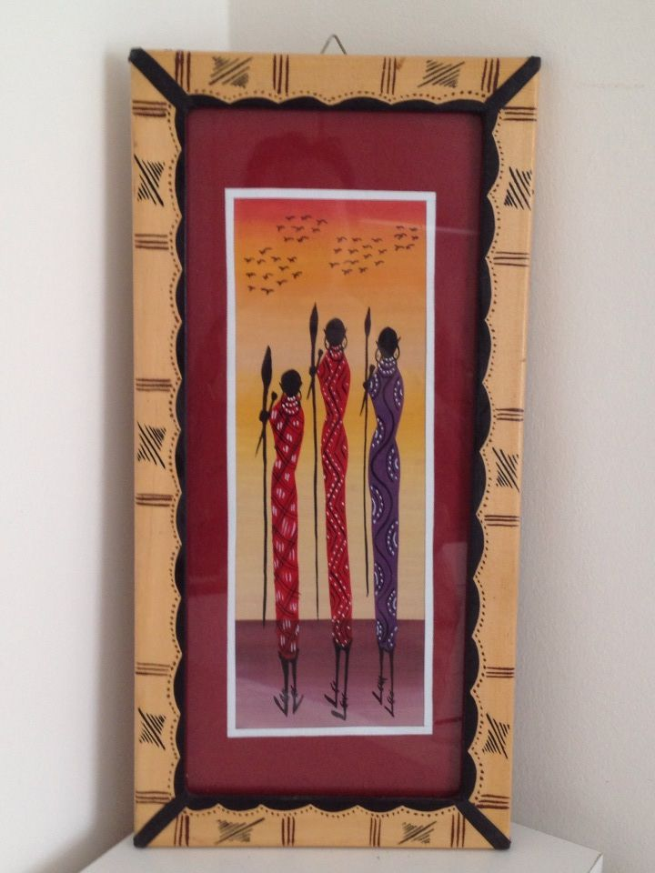 Handmade Tribal African Batik painted on paper with wooden frame, Wall Hanging, 45x22 cm ♦♦ Quadro Tribale africano dipinto su carta con cornice di legno  45€