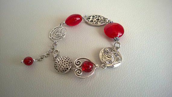 Asymmetric bracelet Funky bracelet Red bracelet  Red