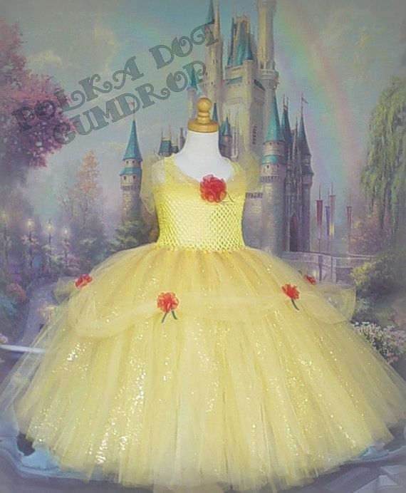 Belle Inspired Beauty and the Beast Yellow and Red Glitter Princess Flower Girl Rose Tutu Dress Halloween Costume 2T, 3T, 4T, 5T