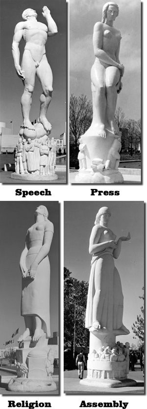 """""""The Four Freedoms"""" Sculpture by: Leo Friedlander  I wish these sculptures were saved"""