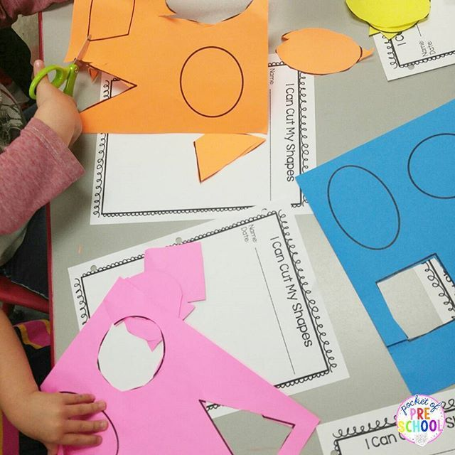 Preschool and pre-k cutting shapes assessment. Quick tip...print on colored paper to make cutting shapes more exciting.