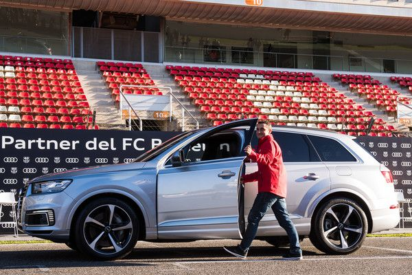 Head coach Ernesto Valverde of FC Barcelona receives his new Audi car during the Audi Car handover to the players of FC Barcelona on November 30, 2017 at Circuit de Barcelona-Catalunya in Montmelo, near Barcelona, Spain.