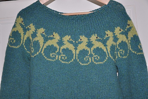 Seahorses Sweater by Violet Green
