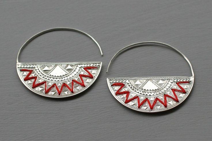 Boucles d'oreilles Argent Brodé, boucle d oreille argent - So Capristi [socapristi.com]