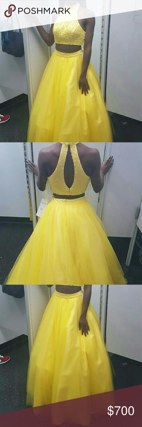 Prom Dress Yellow Two piece halter neck open back dress Dresses Prom