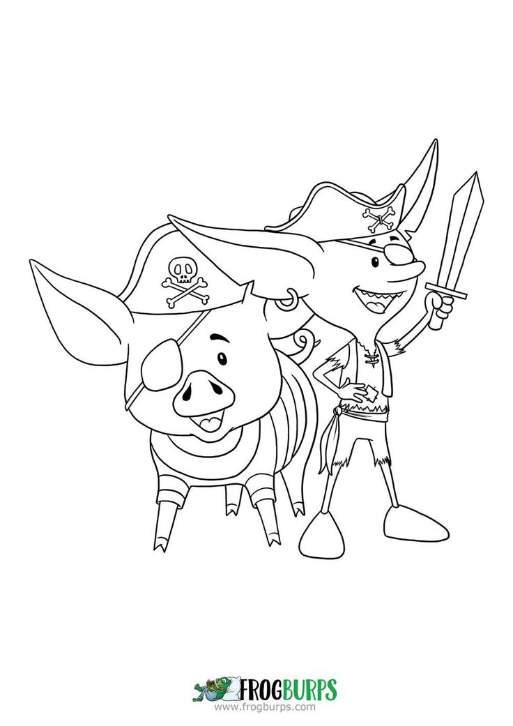 Goblin and Pig as Pirates   Coloring Page