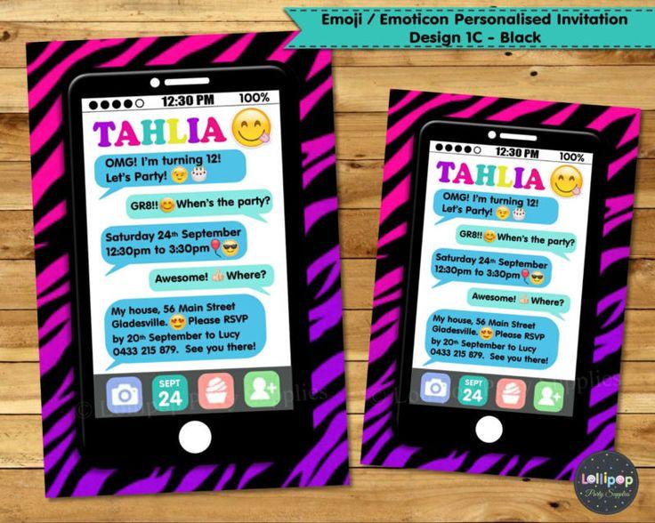 Emoji Emoticon Teen Invitation Birthday Party Invite Personalised Phone  Chat. Einladung Geburtstag ...