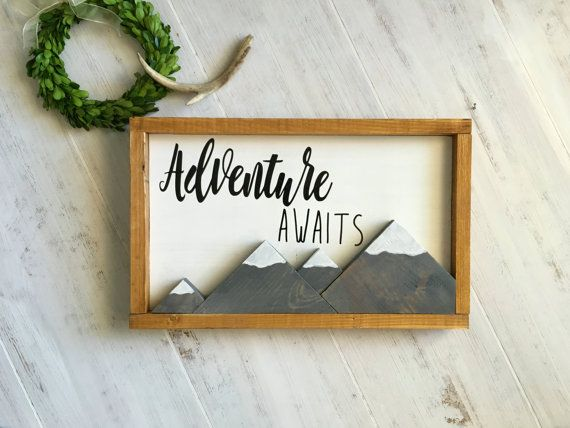 Adventure Awaits Sign, Mountain Nursery Decor, Woodland Nursery, Adventure Nursery Decor, Wooden Adventure Decor, Baby Shower Gift