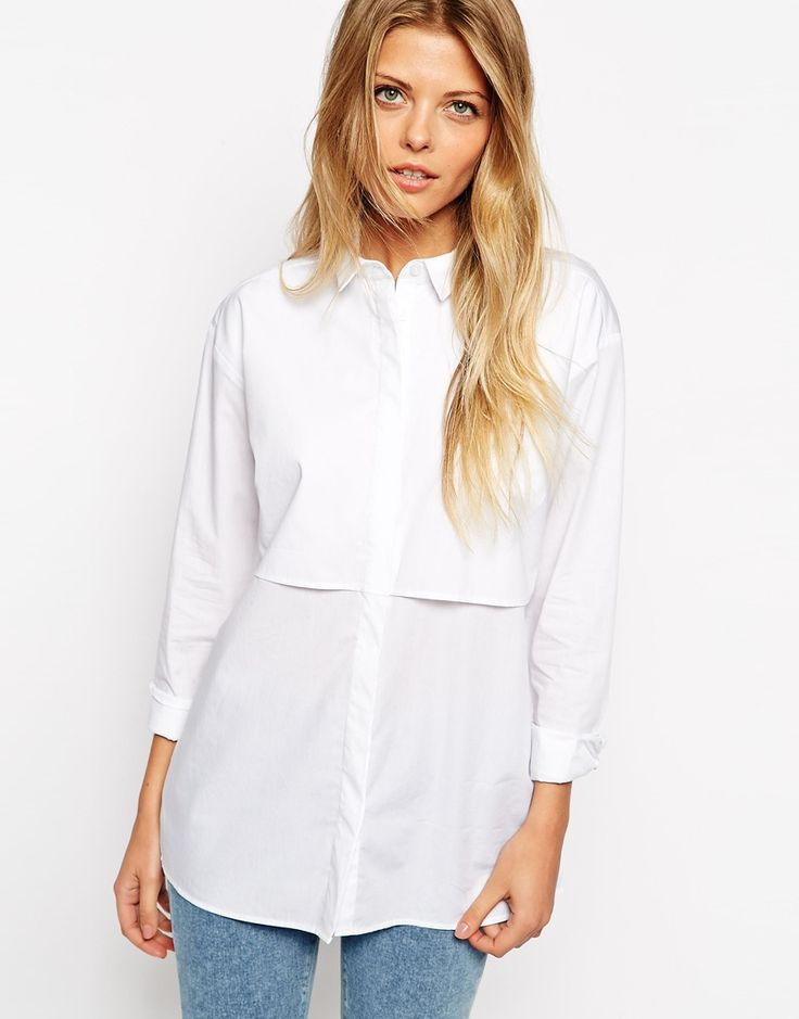 Image 1 of ASOS Boyfriend White Shirt with Double Layer