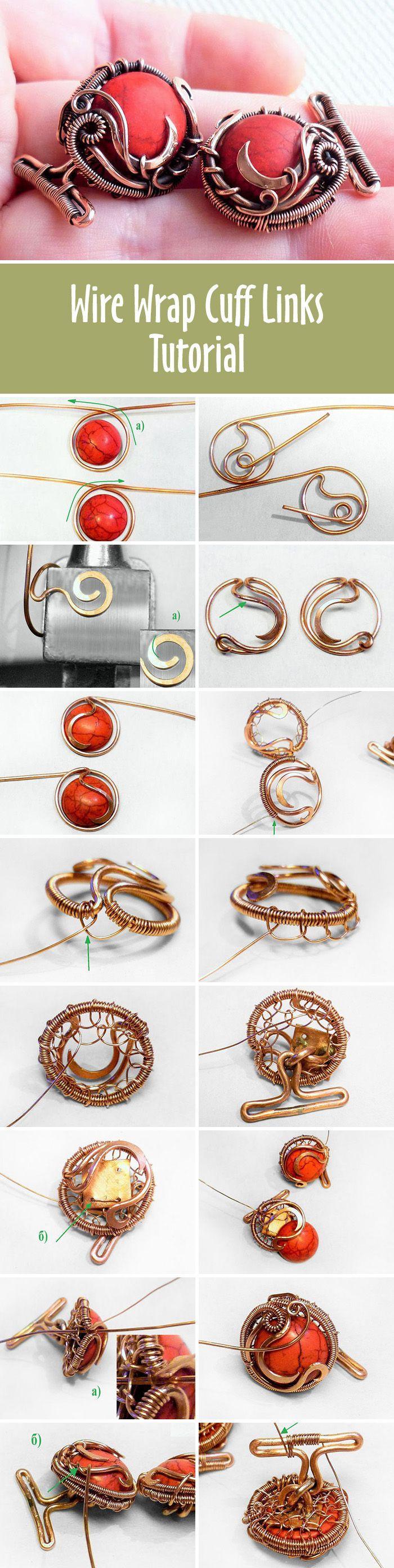 Wire wrap cuff links tutorial | Мастер-класс: создаем запонки «Красные горошины»