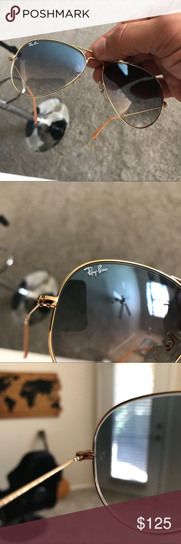 RayBan Gradient Blue Aviators RB3025 001/3F 62mm RayBan Gradient Blue Gold Frame Aviators RB3025 001/3F 62mm  $168 retail.   •These are 100% Brand New and Authentic Ray-Ban Aviator sunglasses  •Your purchase will be shipped in original box and proper packaging to prevent damage  •Your purchase included everything that comes with the original box (Retail Box, Carrying Case, Manuals, etc.) Ray-Ban Accessories Sunglasses