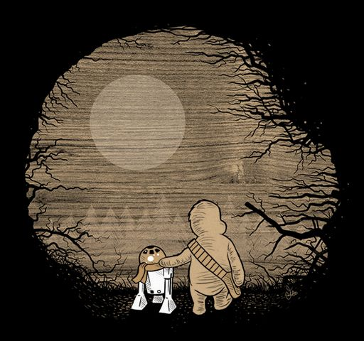 'Taking Their First Step Into A Larger Forest...' by James Hance.    How awesome is this?James Of Arci, Geek, The Chew, Star Wars, James Hance, Stars Wars, Winnie The Pooh, T Shirts, Starwars