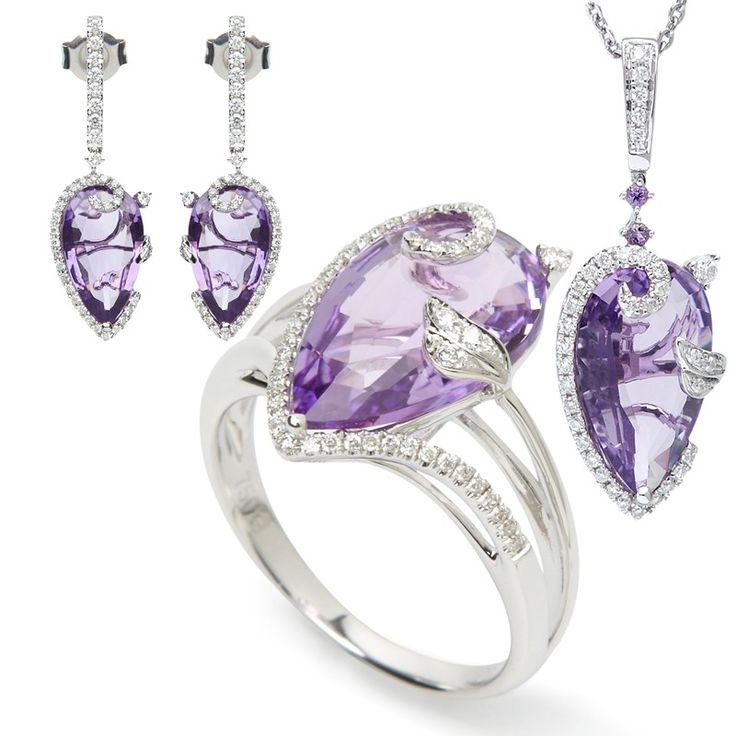 18k Diamond and Amethyst White Gold Ring, Pendant and Earring Set