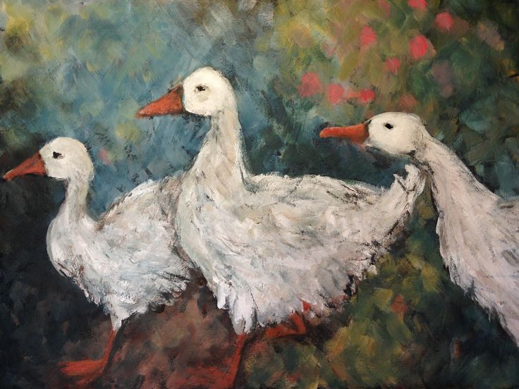 Orchard Geese, Acrylic on canvas 2015. Ingrid Bowen Art