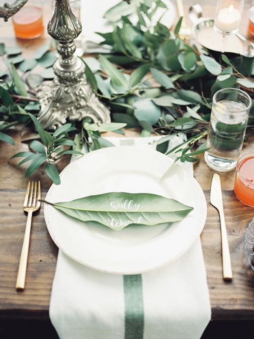 A calligraphed leaf can be a wonderful place card
