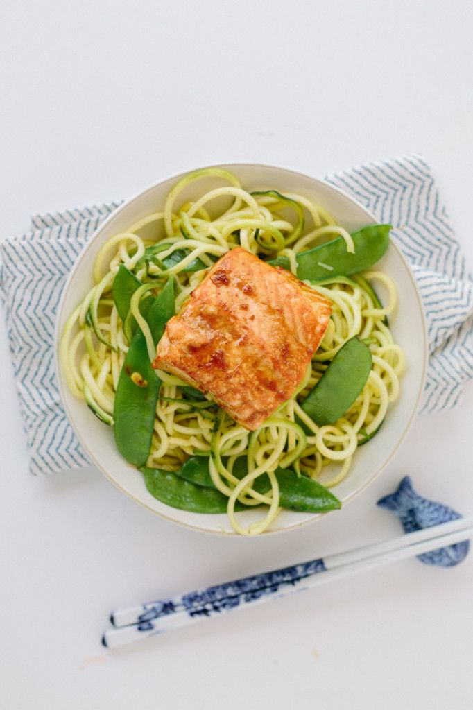 Teriyaki-Ginger Salmon with Sesame Zucchini Noodles