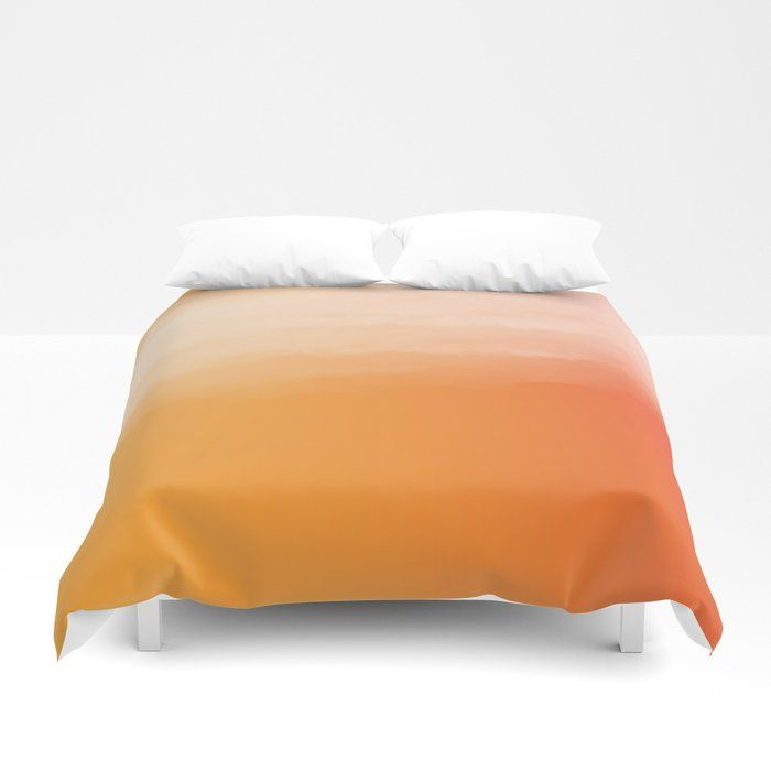 Orange Sunset Watercolor Ombre Duvet Cover Orange And White Ombre Bedding Available In Twin Twin Xl Orange Duvet Covers White Bed Covers Where To Buy Bedding