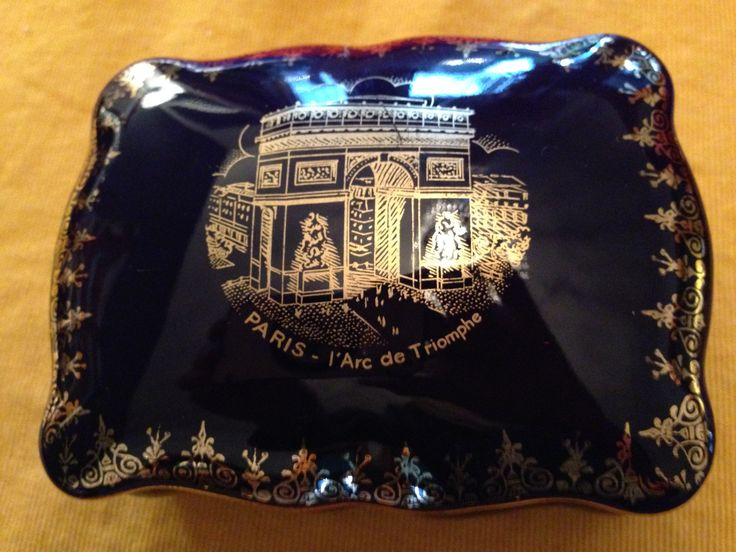 Blue and gold covered Limoges box showing Arc de Triomphe. Value Village $10.49