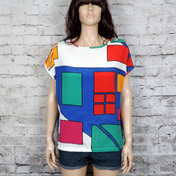 80s Colorblock Abstract Silky TopVintage Boatneck by poetryforjane, $22.00