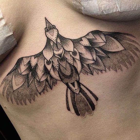 bird sternum tattoo