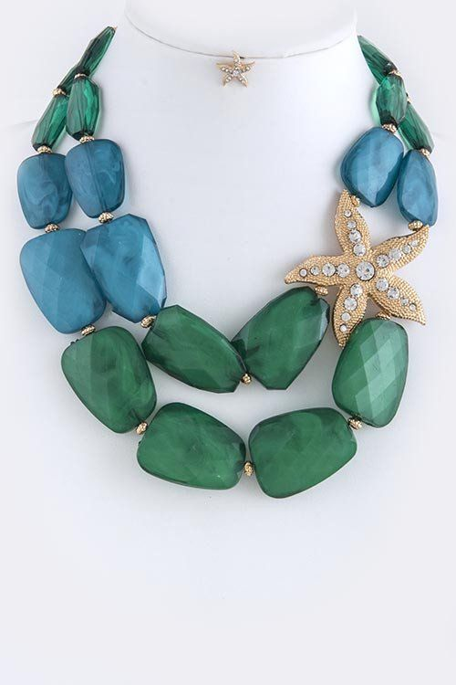 Green Rhinestone Pave Star Accent Necklace Set