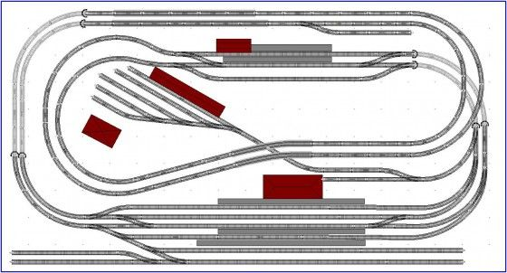Gleisplan 1: Verschlungenes, doppelgeleisiges Oval