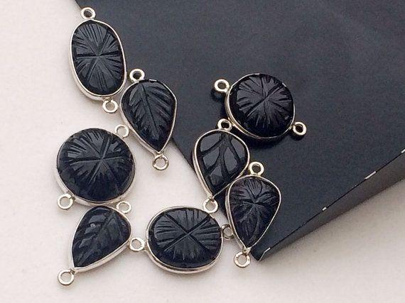 8 Pcs Black Onyx Hand Carved Mix Shape Connectors by gemsforjewels