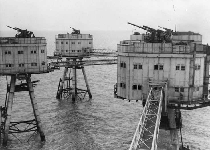 "Knock John sea fort, one of several floating ""Maunsell Forts,"" located in the Thames Estuary off the coast of England. Description from pinterest.com. I searched for this on bing.com/images"
