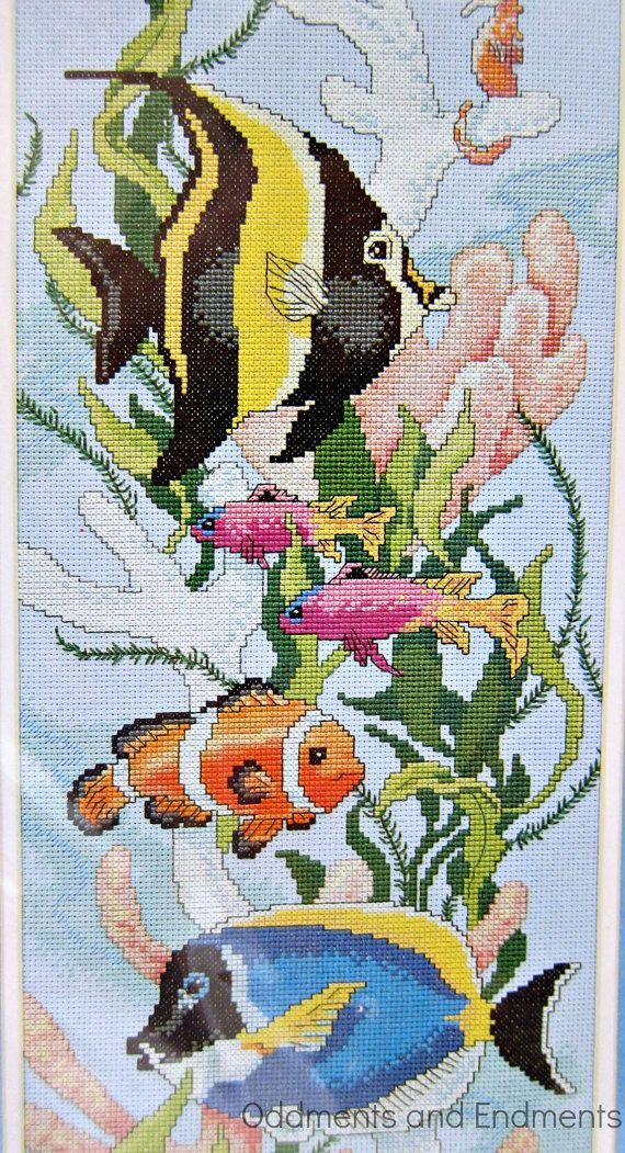 Deep Sea Fish Counted Cross Stitch Kit by OddmentsandEndments, $10.00