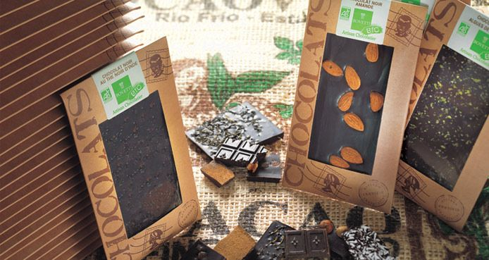Tabletas de chocolate orgánico. [Bovetti Chocolatería Artesanal]