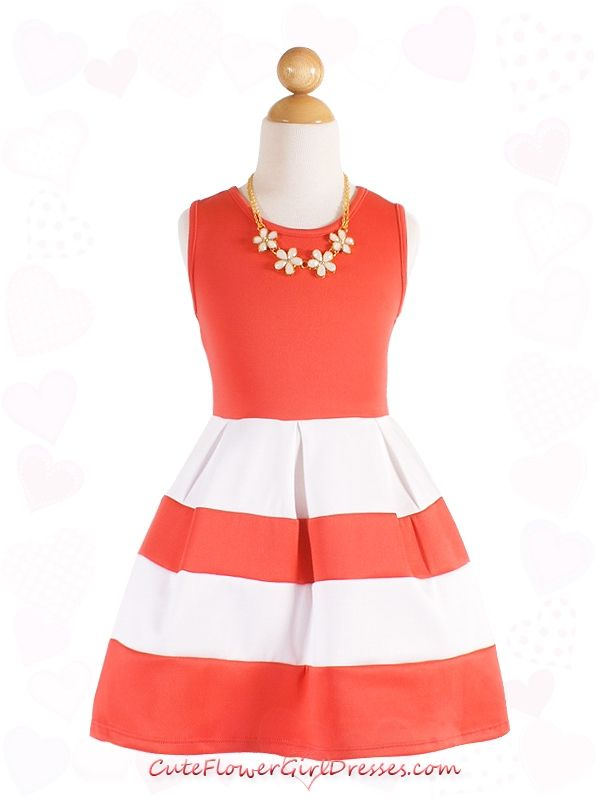 Coral / White Bold Stripes Girl Dress with Necklace