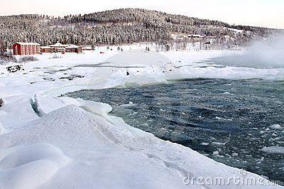 Waterfall Storforsen in the north of Scandinavia