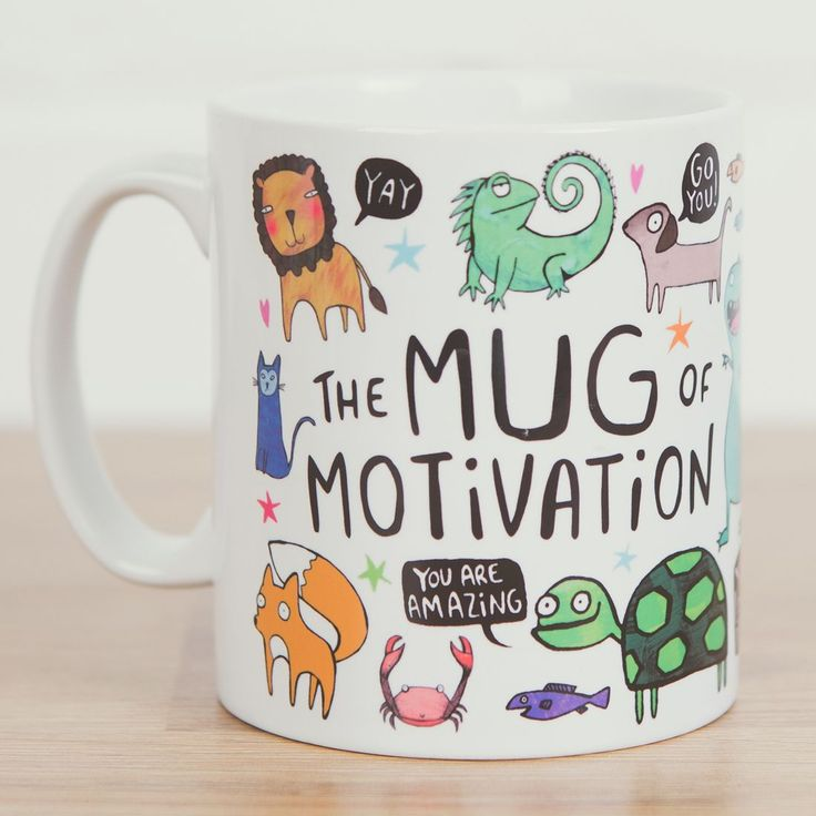 This is a vibrant and happy ceramic mug that will be sure to restore your enthusiasm and cure even the worst cases of negativity. Simply fill up the original mug with your beverage of choice and drink in that motivation! See you can do absolutely anything!