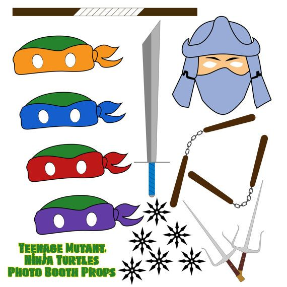 INSTANT DOWNLOAD Teenage Mutant Ninja Turtle Photo Booth Props TMNT Shredder Masks Party supplies Weapons