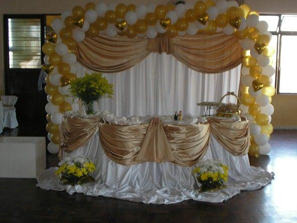 Decoração para festa de bodas de ouro 002