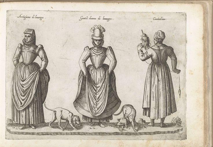 Drie vrouwen uit Bourges, gekleed volgens de Franse mode van ca. 1580, Bartolomeo Grassi, in of voor 1585