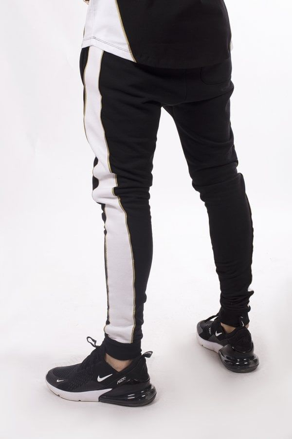 Panelled Skinny Fit Joggers Black White Gold Fitted Joggers Skinny Joggers Skinny Fit