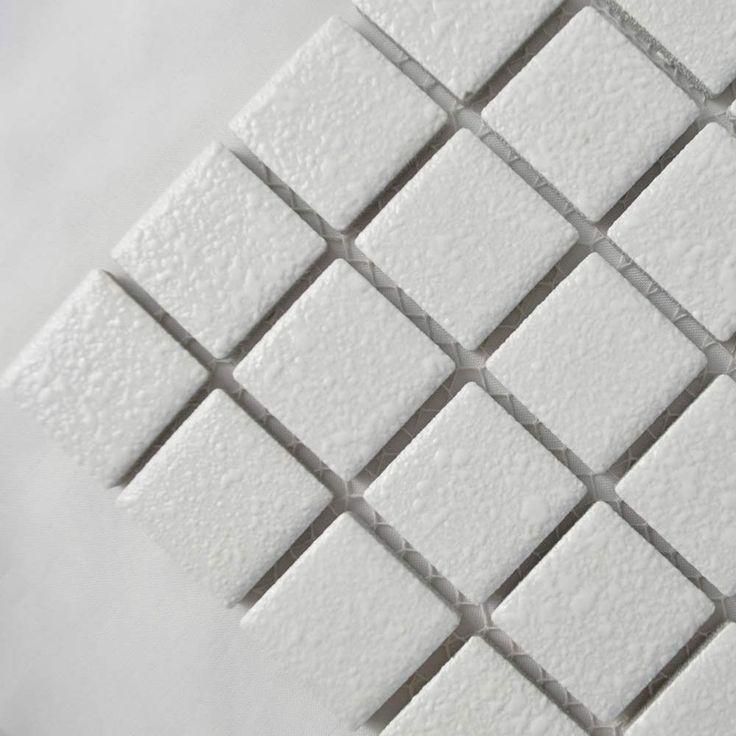 White Textured Finish Mosaic Tiles Toto Anti-Slip Mosaic Tiles 305x305x5.2mm Tiles