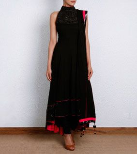 Black Georgette Anarkali with Zardozi Work