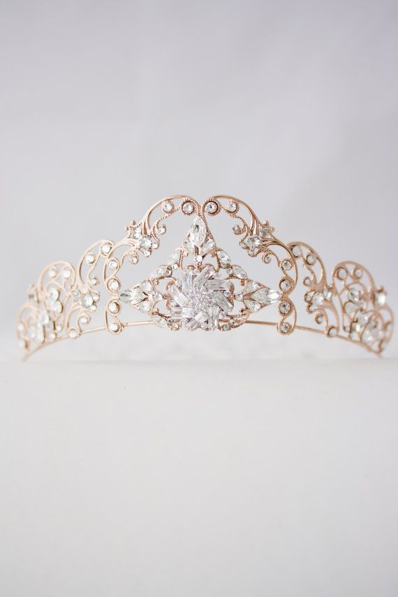 Rose Gold Tiara Crystal Wedding Tiara Filigree by LuluSplendor