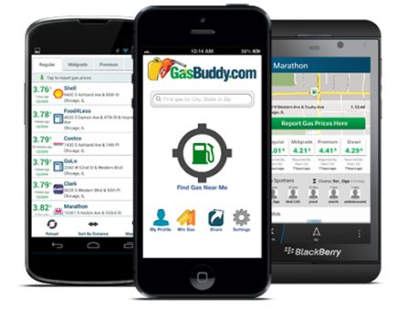 The Gas Buddy app helps you check nearby gas prices.