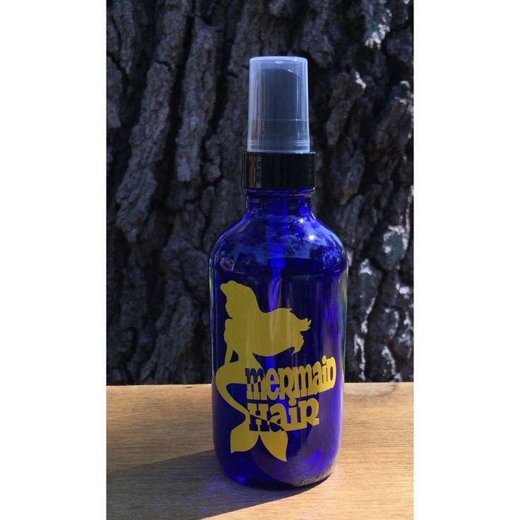 4oz Glass Spray Bottle w/ Yellow Gloss Mermaid Hair Precision Cut Vinyl Decal