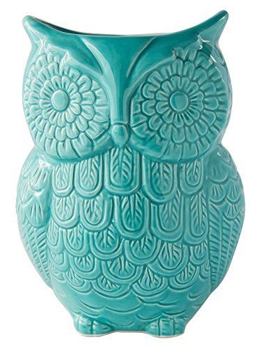 "Owl Utensil Holder by Comfify - Decorative Ceramic Cookware Crock & Organizer, in Lovely Aqua Blue Color - Utensil Caddy and Perfect Kitchen Ceramic Décor Gift - 5"" x 7"" x 4"" Size"