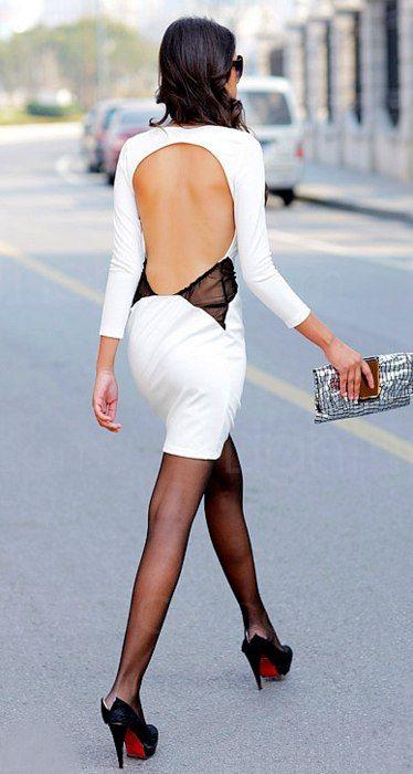 backless mesh dress