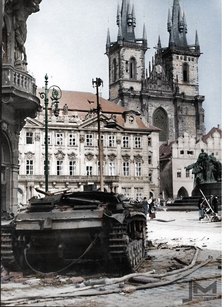 Destroyed StuG III during Prague uprising.