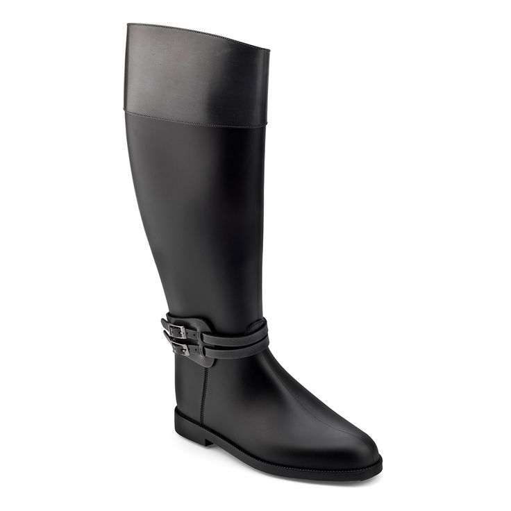 Waterproof riding boot in PVC with a antique brushed finish